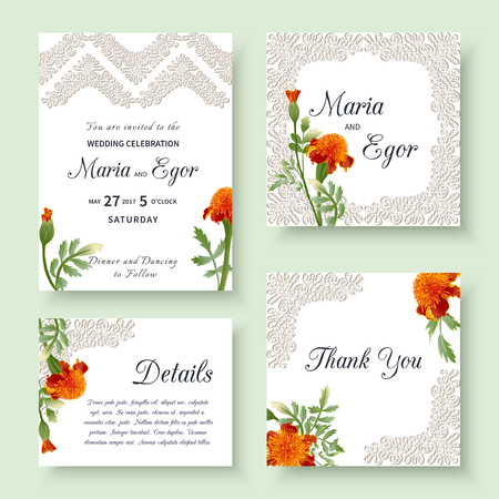 Set of floral wedding invitation with flowers marigolds and openwork lace.Vector illustration. Фото со стока - 100197597