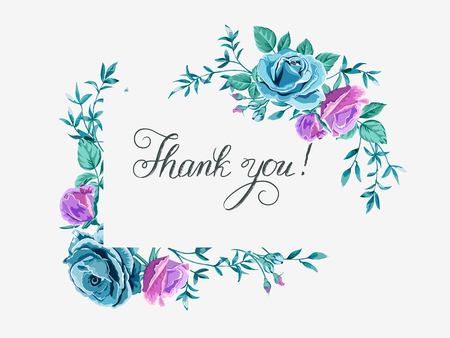 thank you card with roses Vettoriali