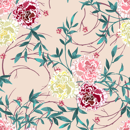 Trendy floral background with wild flowers and twigs with leaves in hand drawn style on pink. Blooming botanical motifs scattered random. Vector seamless pattern for fashion prints. Illustration