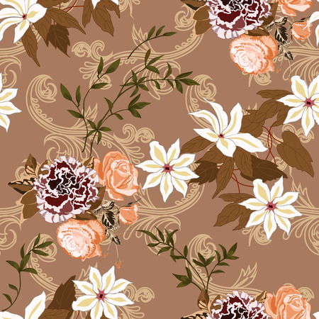 Trendy floral background with many wild flowers and twigs with leaves in hand drawn style on reddish brown. Blooming botanical motifs scattered random. Vector seamless pattern for fashion prints.