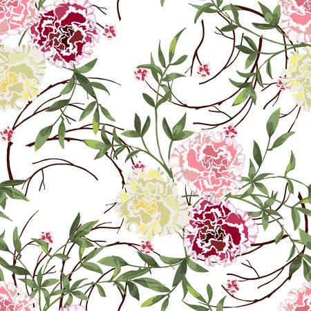 Fondo floral de moda con flores silvestres y ramitas con hojas en estilo dibujado a mano en blanco. Florecen motivos botánicos dispersos al azar. Patrón transparente de vector para estampados de moda.
