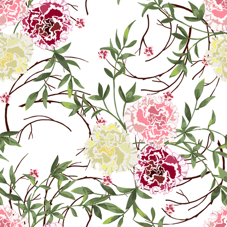 Trendy floral background with wild flowers and twigs with leaves in hand drawn style on white. Blooming botanical motifs scattered random. Vector seamless pattern for fashion prints.