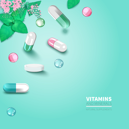 Collection of colorful scattered pills and capsules Vector Illustration