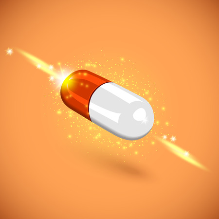One magic pill close-up,vector illustration red tablet