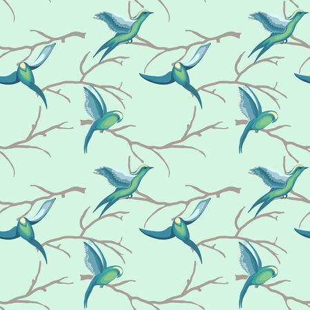 Retro seamless pattern of flying birds on branches of trees in watercolor style scattered random on pastel background. Vector seamless pattern for fashion prints.