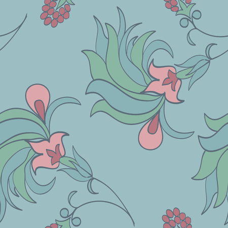 Trendy tropical background with exotic flowers in hand drawn style pastel colors.Botanical motifs scattered random. Vector seamless pattern for fashion prints.