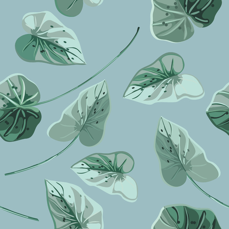 Trendy tropical background with blue exotic leaves in style watercolor.Botanical motifs scattered random. Vector seamless pattern for fashion prints.
