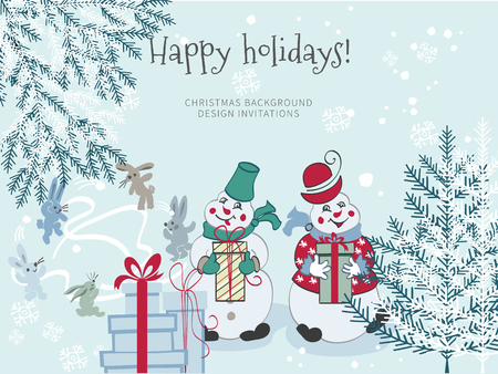 Sketch hand drawing cartoon snowmen with gifts and Christmas tree on white background.Rabbits playing in the snow.Christmas postcard or greeting invitation holidays Illusztráció