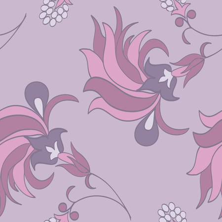 Trendy tropical background with exotic flowers in hand drawn style pastel colors.Botanical motifs scattered random. Vector seamless pattern for fashion prints. Illustration