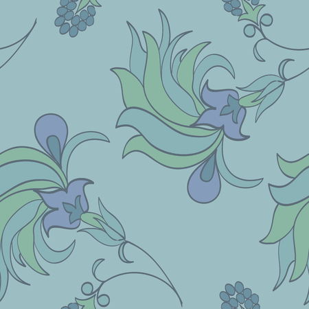 Trendy tropical background with exotic flowers in hand drawn style pastel colors.Botanical motifs scattered random. Vector seamless pattern for fashion prints. Illusztráció