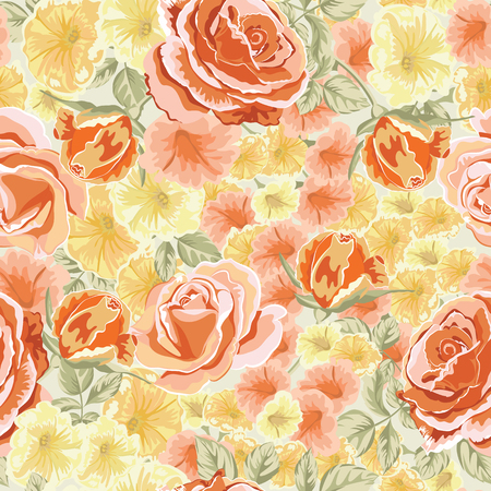 Trendy floral background with yellow, orange roses flowers in style watercolor. Blooming botanical motifs scattered random. Vector seamless pattern for fashion prints.