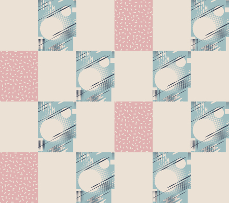 Bandanna patchwork fabric.Vector seamless pattern of geometric elements in memphis style.Beige background