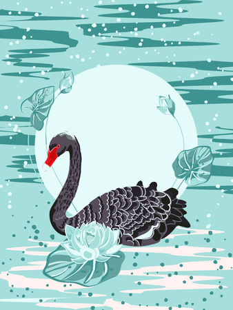 Black Swan and lotus flowers against the sunrise, Chinese and Japanese lacquer miniatures.Vector illustration Illusztráció
