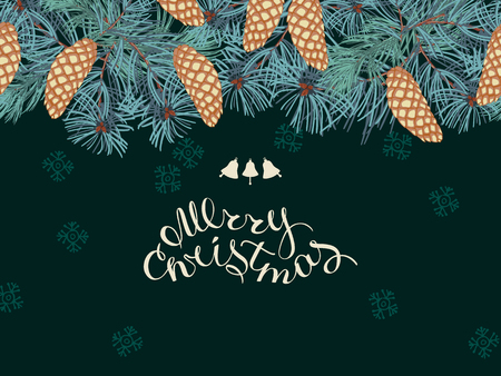 Coniferous twigs, golden pine cones ,seamless horizontal pattern. Dark green color background.Merry Christmas, hand-lettering. Winter Christmas background or greeting card.