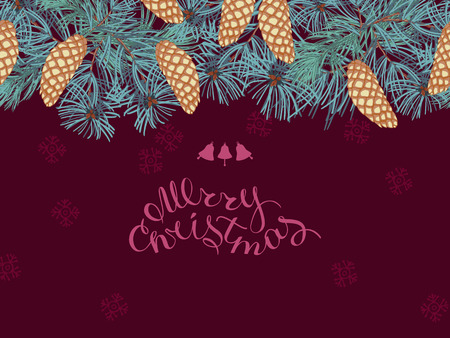 Coniferous twigs, golden pine cones ,seamless horizontal pattern. Burgundy color background.Merry Christmas, hand-lettering. Winter Christmas background or greeting card.