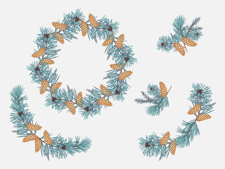 Set arrangements of coniferous twigs, golden pine cone on white background.