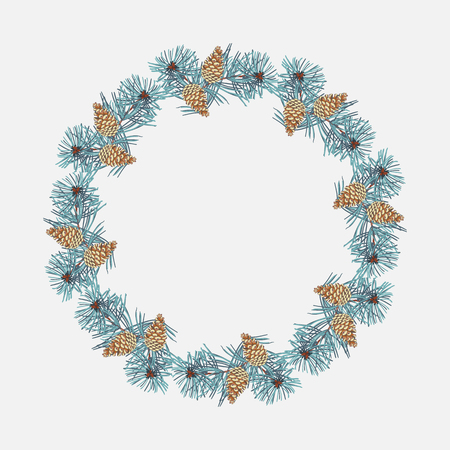 Wreath of coniferous twigs, golden pine cone on white . Winter Christmas background or greeting card. Illusztráció