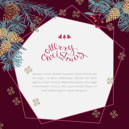 Coniferous twigs, golden pine cones and red berries,geometric frame. Burgundy color background.Merry Christmas, hand-lettering. Winter Christmas background or greeting card. Illusztráció