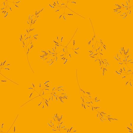 Seamless pattern of cereal plants. Spikelets with grain on a orange background. Illusztráció