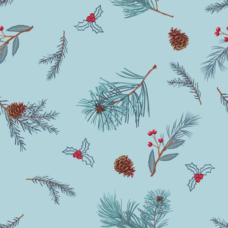 Pine branches and cones on light blue background,scattered random. Vector seamless pattern for fashion prints.