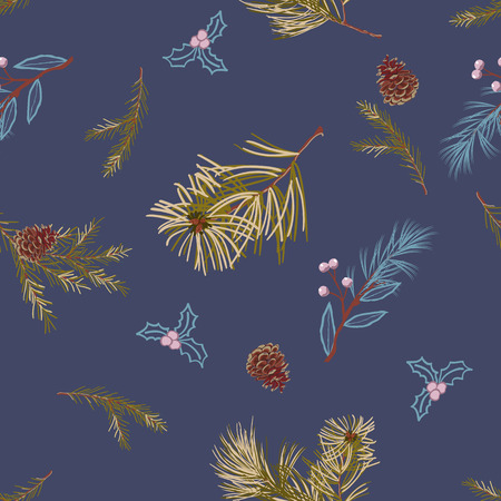 Pine branches and cones on indigo background,scattered random. Vector seamless pattern for fashion prints.