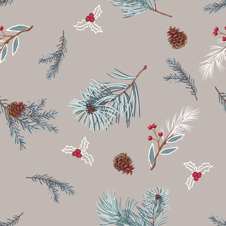 Pine branches and cones on gray background,scattered random. Vector seamless pattern for fashion prints. Illusztráció