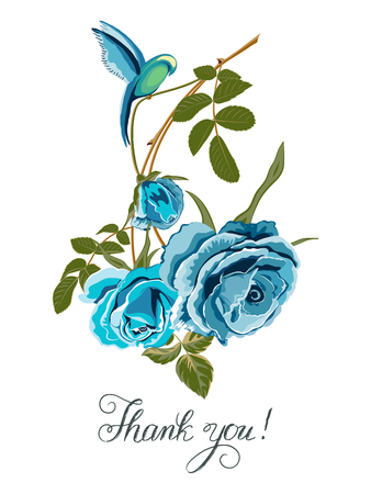 Card with bouquet of blue roses and birdie, lettering-Thank you on white.Vector flower background.Wedding card