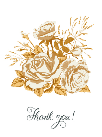 Card with bouquet of golden roses, lettering-Thank you on white.Vector flower background.Wedding card Illusztráció