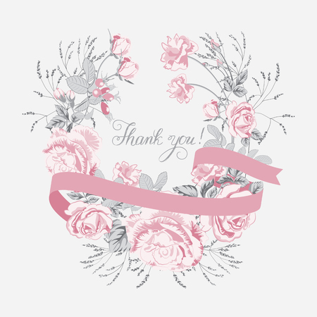 Floral wreath, garland with pink roses and ribbon.Vector flower bouquet, design element isolated on white background.Thank you, lettering.Wedding card Illusztráció