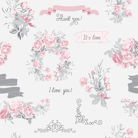 Seamless pattern of vector elements for Wedding invite card.Wedding bouquets of pink roses, arrangement, ribbons, hand calligraphy and other design elements. Illusztráció