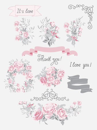 Set of vector elements for Wedding invite card.Wedding bouquets of pink roses, arrangement, ribbons, hand calligraphy and other design elements.