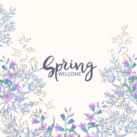 Vintage spring floral background.Lettering Spring Welcome.Border of field flowers big bells and blooming of wormwood on white background. Vector banner, poster, greeting card Illusztráció
