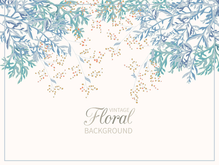 Vintage spring floral background.Border of field flowers big bells and blooming of wormwood on white background. Vector banner, poster, greeting card