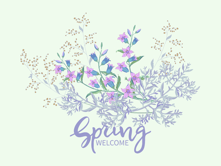 Vintage spring floral background.Lettering Spring Welcome.Bouquet of field flowers big bells and blooming of wormwood on white background. Vector banner, poster, greeting card Illusztráció