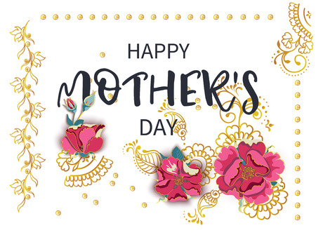 Vintage spring floral background. Inscription Happy Mothers Day with volume flowers 3d buds of red wild rose and luxurious gold patterns mehendi on white background . Vector illustration. Illusztráció