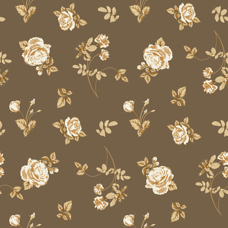 Trendy floral background with golden roses flowers and twigs with leaves in style watercolor. Blooming botanical motifs scattered random. Vector seamless pattern for fashion prints.