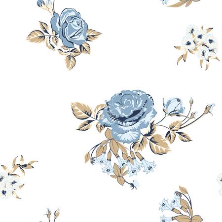 Trendiger Blumenhintergrund mit goldenen Rosenblüten und Zweigen mit Blättern im Stilaquarell auf Weiß. Blühende botanische Motive verstreut zufällig. Vektornahtloses Muster für Modedrucke. Vektorgrafik