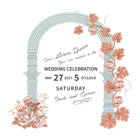 Wedding invitation with flowers roses and vintage architectural archway, twined with vine.