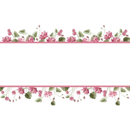 Frame for text with linear horizontal seamless pattern of Lotus flowers