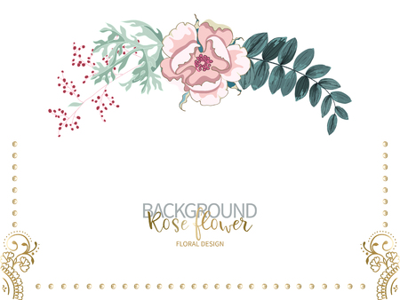 Composition of beautiful pink rose and flowering branch of wormwood, green tropical leaves on white. Vector floral background or greeting card