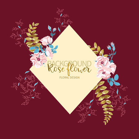 Composition of beautiful pink rose and gold tropical leaves with frame for text on burgundy color. Vector floral background or greeting card Ilustração