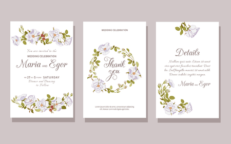 Set of floral wedding invitation with beautiful white wild rose. Flower bunch, wreath, design element pastel colors isolated on white background.Vector illustration Illusztráció