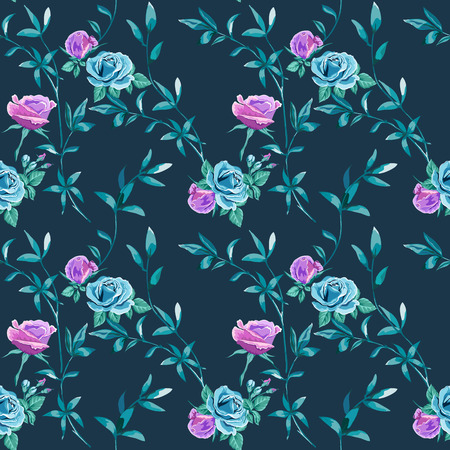 Trendy floral background with blue, lilac roses flowers and twigs with leaves in hand drawn style on dark blue. Blooming botanical motifs scattered random. Vector seamless pattern for fashion prints. Illusztráció