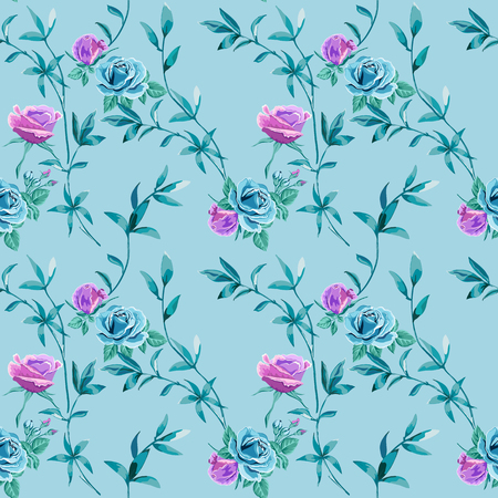 Trendy floral background with blue, lilac roses flowers and twigs with leaves on light blue. Blooming botanical motifs scattered random. Vector seamless pattern for fashion prints.