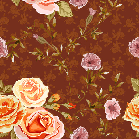 Trendy floral background with yellow, orange roses flowers in style watercolor on a red brown. Blooming botanical motifs scattered random. Vector seamless pattern for fashion prints.