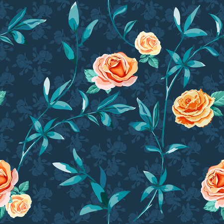 floral background with yellow, orange roses flowers and twigs with leaves on dark blue