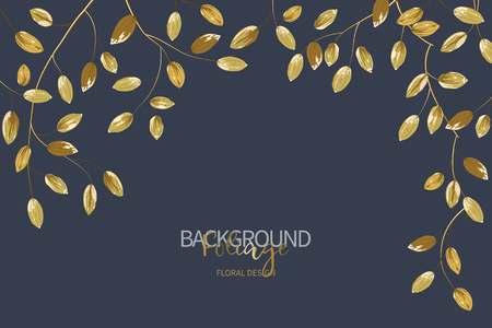 Floral background with gold leaves. Composition branch with exotic tropical leaves on navy blue background. Vector illustration.