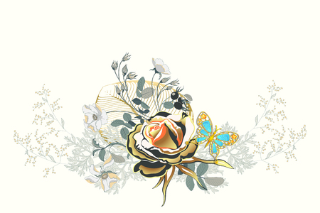 Flower arrangement with a Golden rose and a butterfly as gold jewelry, decorated with precious stones on white background. Vector floral wedding invite or greeting card