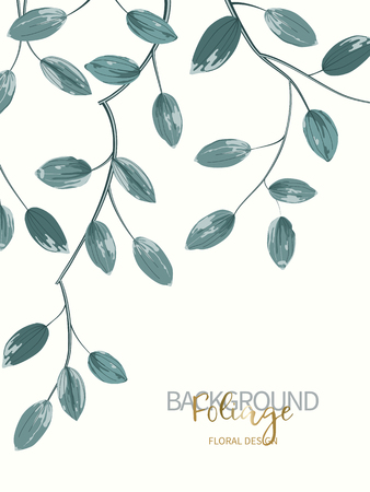 Floral background with aquamarine leaves. Composition branch with exotic tropical leaves on white background. Vector illustration.