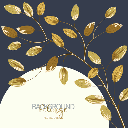 Floral background with gold leaves and white round banner. Composition branch with exotic tropical leaves on navy blue background. Vector illustration. Illusztráció